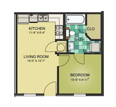 1 Bed/1 Bath - Small