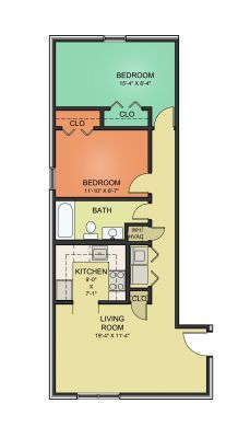 2 Bed/1 Bath - Long Hall