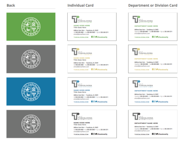 Business Cards City Of Tuscaloosa