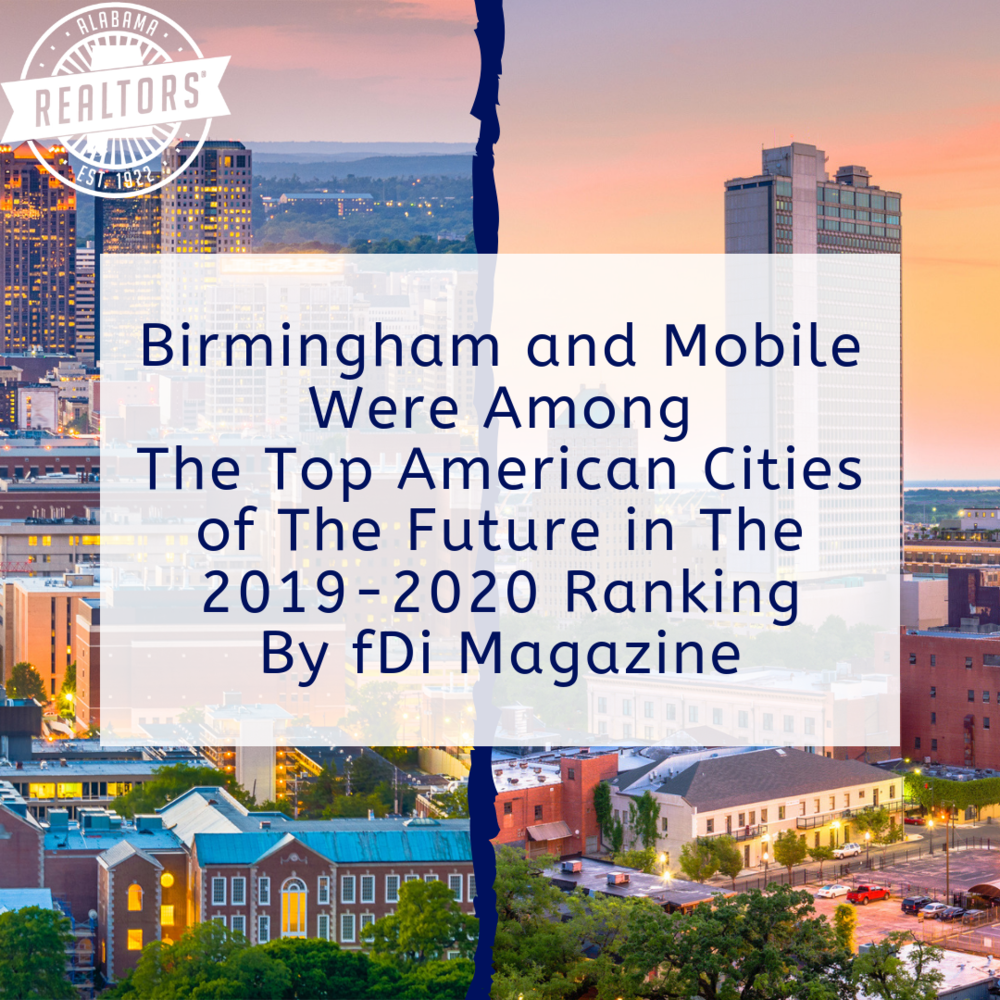 Birmingham and Mobile Ranked Among The Top American Cities of The Future