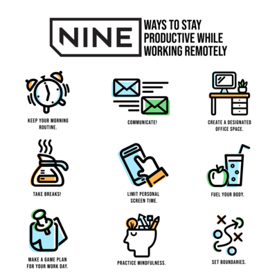 NINE WAYS TO STAY PRODUCTIVE WHILE WORKING REMOTELY